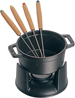 STAUB Cast Iron Mini Chocolate Fondue Set, 0.25-quart, Black Matte