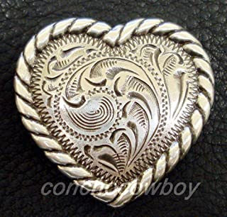 "ShopForAllYou Conchos Western Headstall Saddle Horse TACK Rope Edge Heart Concho 1-1/4"" Screw Back"
