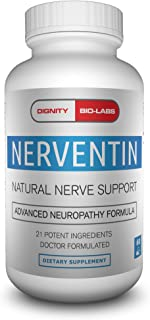Nerventin by Dignity Bio-Labs: Nerve Support - Nerve Pain Relief & Diabetic Peripheral Neuropathy Supplement w/Alpha Lipoic Acid, Benfotiamine, Vitamin B12 & Spirulina