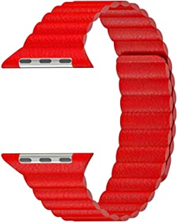 Microsonic 21279 Apple Watch Series 5 44mm Twist Leather Loop Kordon Kırmızı