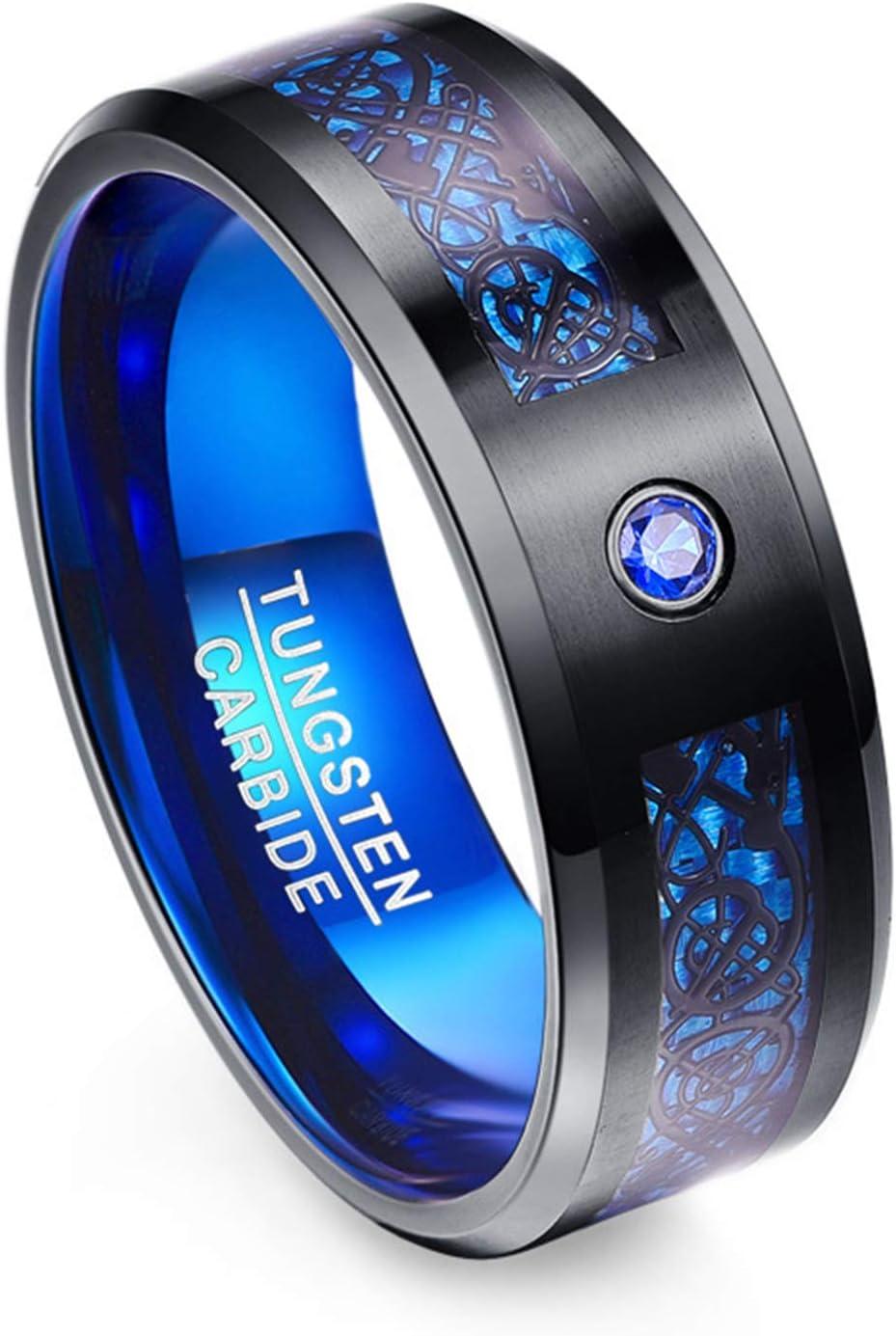 ERHETUS Mens Rings,Pure Elemental Dragons Pattern Tungsten Gold Rings for Men