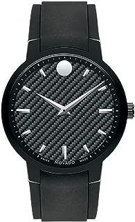 Men's 42mm Black Rubber Band Steel Case S. Sapphire Swiss Quartz Analog Watch 0606849