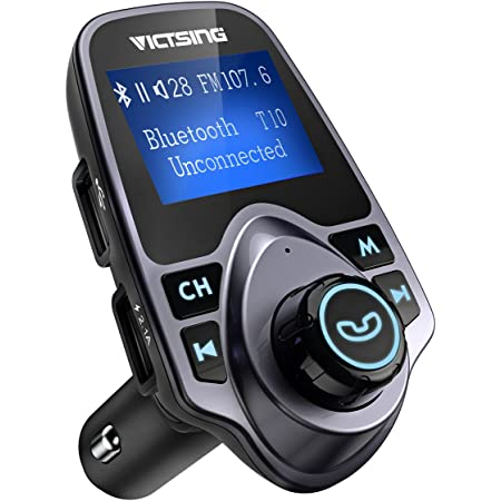 FMトランスミッター bluetooth 2019 急速充電 日本周波数向け 文字化け解決 TFカード&USBメモリーカード MP3プレーヤー対応 USB2ポート 大画面 全機種Bluetooth対応 18ヶ月間メーカー保証
