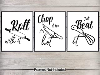 Kitchen Wall Art Prints - Unframed Typography - Makes a Great Gift for Chefs, Bars, Kitchens, Family Rooms - Perfect Home Decor - Ready to Frame - Set of Three - (8x10) Photos