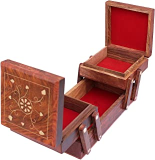Artistic india Jewellery Box for Women Wooden Flip Flap Handmade Gift, 8 Inches