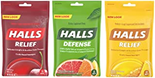 Halls Cough Drops 3 Pack - 1 Cherry, 1 Honey Lemon, 1 Assorted Citrus