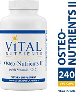Vital Nutrients - Osteo-Nutrients II (with Vitamin K2-7) - Bone Support Formula With Boron - Gluten Free - 240 Vegetarian Capsules per Bottle
