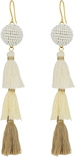 3 Tiered Tassel Earrings with Beaded Pom Pom