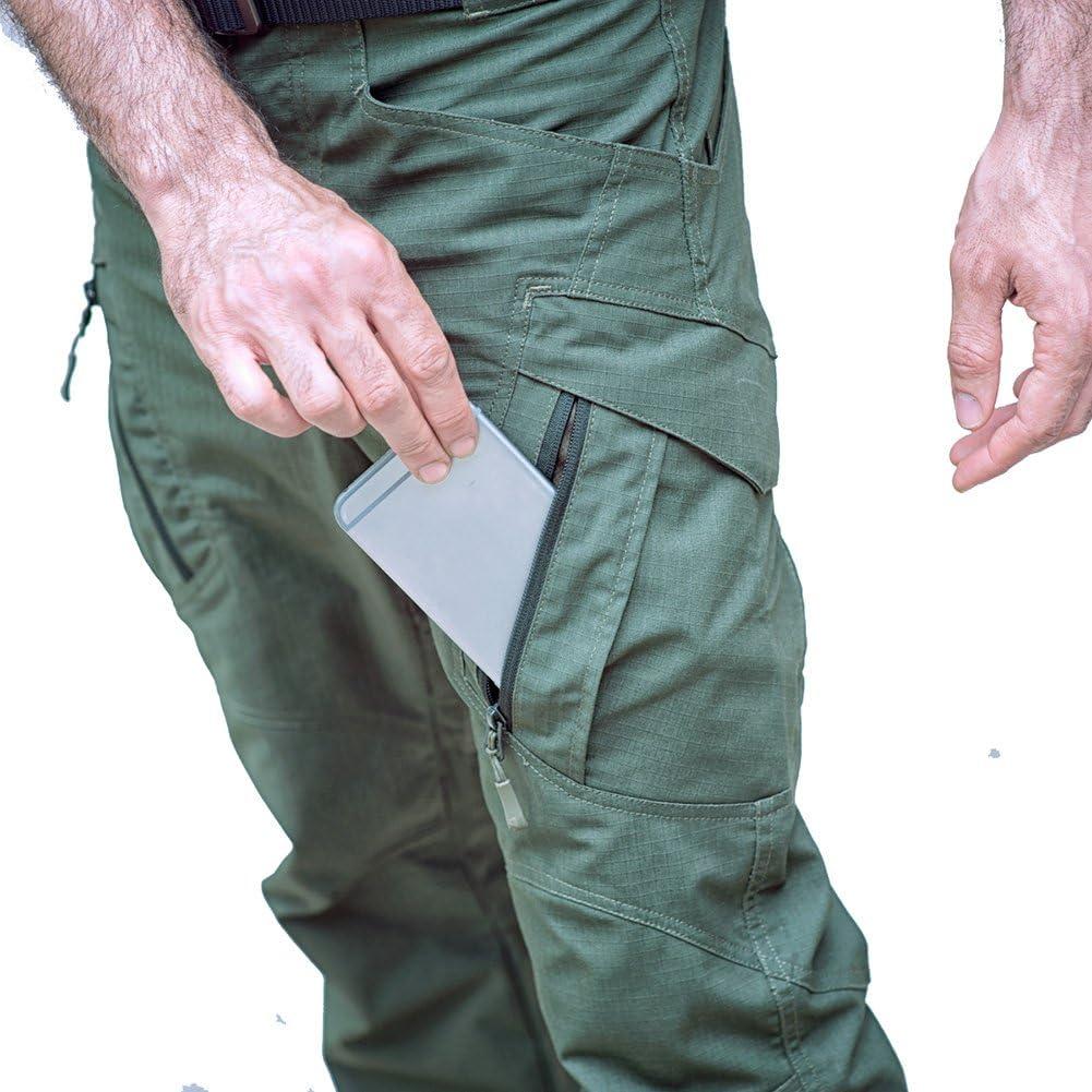 TACVASEN Pantalones de senderismo para hombre de algod/ón militar con m/últiples bolsillos