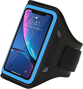 LOVPHONE iPhone 13/13 Pro/iPhone 12/12 Pro/iPhone 11 Pro/11/iPhone XR Armband,Sport Running Workout Exercise Cell Phone Case with Holder & Card Slot,Fingerprint Sensor Access Supported (Gray)