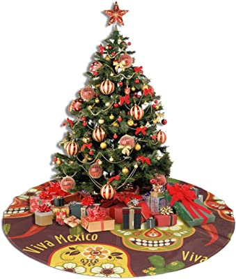 Amazon Com Hsddagou45 Traditional Mexican Christmas Tree Skirt 30 36 48 Inches White Plush Faux Xmas Tree Skirt Best For Holiday Christmas Decorations New Year Party Home Kitchen