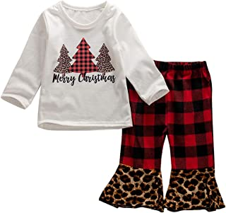 Newborn Infant Baby Girl Merry Christmas Printed Clothes Set Long Sleeve T Shirt Plaid Leopard Flare Pant