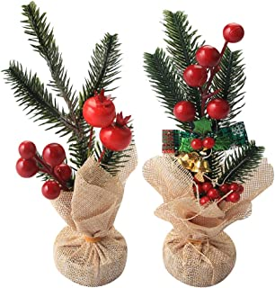 vocheer Artificial Red Christmas Berries Flower Decor 2 Pack Stems Pine Branches Fake Pine Picks Pine Needle with Bells and Bow-Knot for Decorations, Holiday, Home and Garden Decor