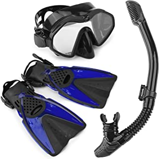 Arkmiido Snorkel Set - Fully Dry Top Snorkel, Impact Resistant Tempered Glass Anti-Fog Snorkeling Mask, Adjustable Diving Fins/Flippers for Scuba Swimming Free Breathing, with Quick Dry Gear Bag