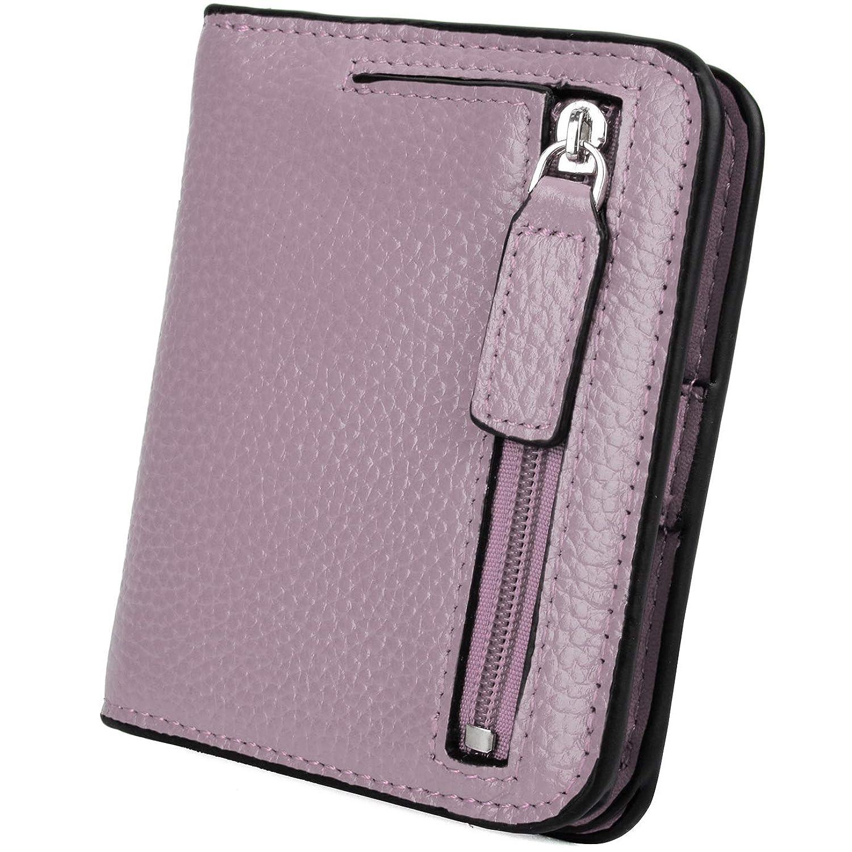 [ヤラックス]YALUXE レディース RFID ブロッキング 小さい コンパクト レザー ウォレット ミニ 財布 ID ウィンドウ ライト パープル