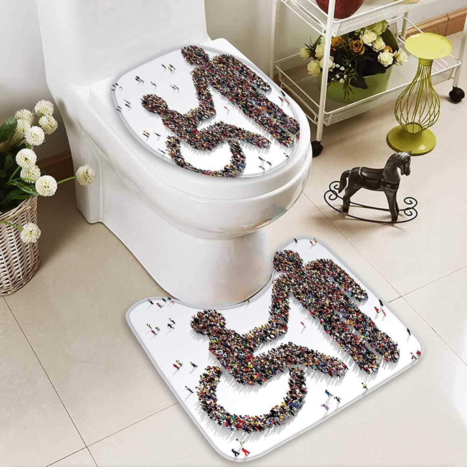 Bathroom Non-Slip Floor Mat Large and Diverse Group of People seen from Above Gathered Together with High Absorbency
