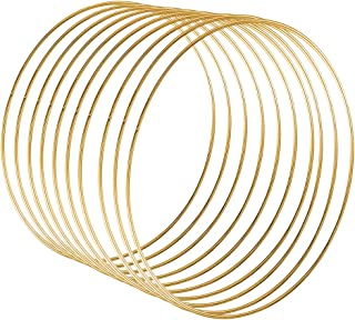 Sntieecr 10 Pack 10 Inch Large Metal Floral Hoop Wreath Macrame Gold Hoop Rings for DIY Christmas Wedding Wreath Decor, Dream Catcher and Macrame Wall Hanging Crafts
