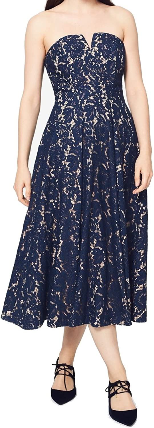 FAME AND PARTNERS Womens bluee Strapless Strapless Midi Fit + Flare Formal Dress US Size  4