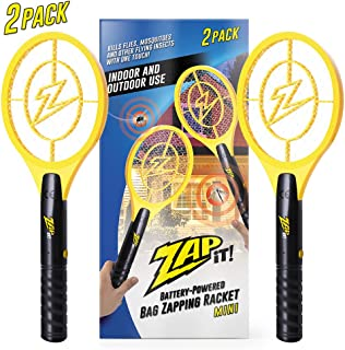 ZAP IT! Bug Zapper - Battery Powered (2xAA) Mosquito, Fly Killer and Bug Zapper Racket - 4,000 Volt - Safe to Touch (Mini Twin Pack)