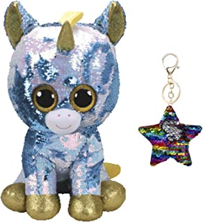 """TY Flippables Reverse Sequin Stuffed Animal Beanie Boo Plush Toy Large Size (16"""") - Limited Availability - with One Keychain (Dazzle The Unicorn)"""