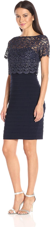 Betsy & Adam Womens Short Jersey Chem Lace Dress