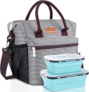 BALORAY Large Insulated Lunch Bag for Women and Men with Food Containers& Shoulder Strap Leakproof Lunch Tote Bag Lunch Box for Work Picnic Hiking Beach Fishing