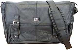 Roamlite Men's Leather Messenger Shoulder Bag - Cross Body Business Attache Case - Soft Genuine Hide - Lightweight Soft Briefcase for Work College Or Uni - Hand Luggage Size 38X28X13Cm Rl753
