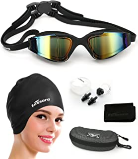 Firesara Swim Cap Swimming Goggles, Swimming Cap for Long Hair Swimming Glasses Anti Fog UV Protection for Adults Youth Men Women Boys Kids with Nose Clip Ear Plugs Sets