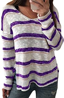 Womens Sweaters Pullover Fashion Color Block Striped V Neck Long Sleeve Loose Knitted Jumper Tops