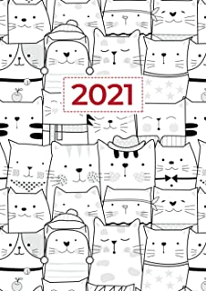 2021 A4 Week to View Diary | Crowd of Cats In Hats: Personal Schedule Organiser, Appointment Book, Planner, Calendar, Agen...