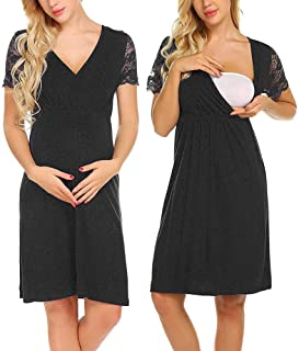 Mumustar Womens Maternity Dress Nursing Breastfeeding with Zip Hospital Bag Nightdress Shirt Striped Sleepwear Pyjamas Nightgown