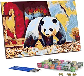 """PJCSEC DIY Paint by Numbers for Adults Kids, Canvas Oil Painting Kit for Beginner, Valuable Gift - Lovely Panda (16"""" x 20"""")"""