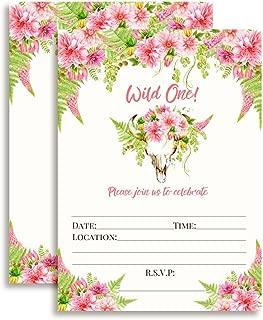 Boho Floral Wild One Girl Birthday Invitations, 20 5