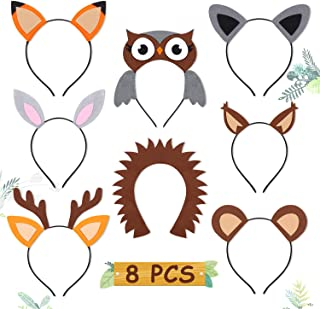 CiyvoLyeen Woodland Animal Headbands Wild One Camping Forest Theme Felt Ears Headbands for Woodland Animal Theme Baby Shower Birthday Party Favors Kids Adults Cosplay Apparel Party Supplies Set of 8