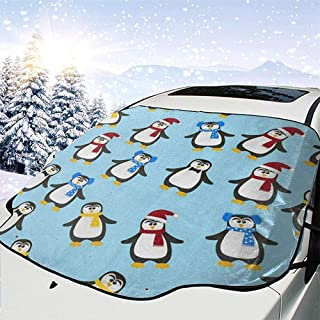 Hipster Cartoon Pinguin Auto Windschutzscheibe Abdeckung Für EIS Schnee Frost Sonne, Auto Frontscheibe Shades Protector Passt Winter Fahrzeug SUV Sonnenschutzabdeckungen