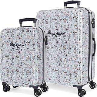 Pepe Jeans Malila Set de Bagages Bleu 55/68 cms Rigide ABS Serrure TSA 104L 4 roues doubles Bagage à main