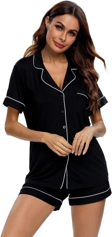 TIKTIK Pajamas Set Short Sleeve Sleepwear Womens Button Down Nightwear Soft Pj Lounge Sets S-4XL