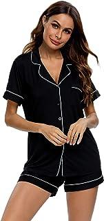 طقم بيجامات من TIKTIK بأكمام قصيرة للنساء بأزرار سفلية ملابس نوم ناعمة Pj Lounge مجموعات S-4XL، أسود، صغير