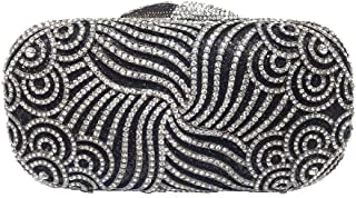 HUIfenghe Ladies Rhinestone Evening Clutch Bag European and American Style Diamond Pattern Banquet Party Bag Chain Shoulder Messenger Bag Size: 17.5 * 5**9cm (Color : Black)