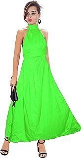 Lakkar Haveli Women's Long Dress Cotton Tunic Kurta Helter Neck Dress Casual Frock Suit Green Color