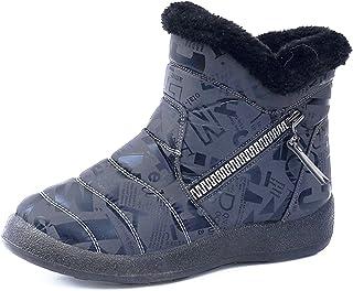 Hezeisoar Niños Botas de Nieve Invierno Calientes Zapatos Niña Niño Forradas Zapatillas Impermeable Planas Botines Antides...