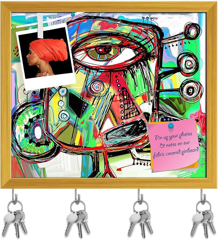 Artzfolio Artwork of Doodle Bird Key Holder Hooks   Notice Pin Board   golden Frame 18.6 X 16Inch