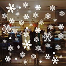 Eokeanon Christmas Window Clings Decal Stickers, White Snowflakes Stickers, Removable Christmas Window Stickers for Winter Wonderland Xmas Christmas Party Decorations