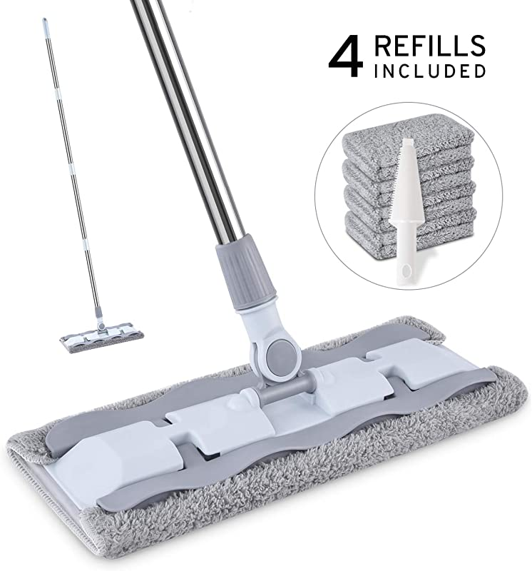 Microfiber Hardwood Floor Mop With 4 Washable Pads HOMTOYOU 360 Rotation Dust Flat Mop With Ultra Long Stainless Steel Handle For Home Office Floor Cleaning