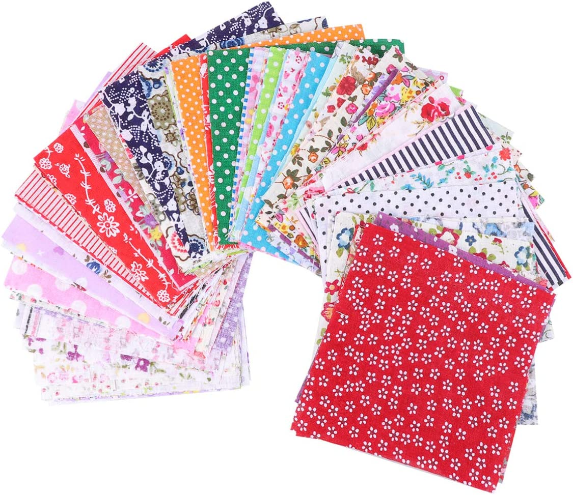 Healifty 100pcs Fabric Squares Sheets Craft Clearance SALE Max 40% OFF Limited time Cotton DIY Patchwork
