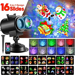 Christmas LED Projector Lights, 2-in-1 Remote Control Ocean Wave with Moving Patterns Holiday Light, Waterproof Outdoor Indoor for Xmas Party Yard Garden Halloween Decoration, 12 Slides 10 Colors