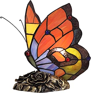 Bieye Tiffany Style Stained Glass Butterfly Accent Table Lamp with Handmade Shade (Multi-Colored A)