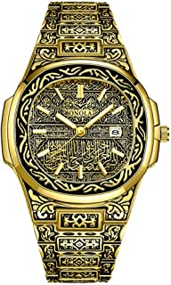 Retro Watches for Men Quartz Watches Tattoo Pattern Carved Stainless Steel Bracelet Waterproof...