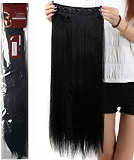 30 Inches Long Straight Fashion Straight/Curly Wavy Synthetic Hair Extensions Hairpieces 5 Clips in Hairpieces Wig Sexy Lady Cosplay Party Woman Beauty Hair Dark Black