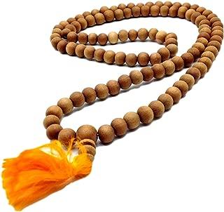 Trademarked 108 Beads Genuine Sandlewood Tibetan Meditation Prayer Japa Mala, Necklace. 8MM Beads Size